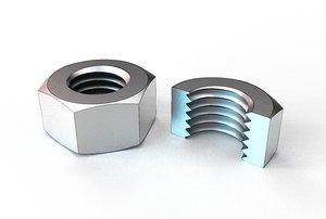 3D hex nut