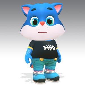 3D model cartoon cat animations rig