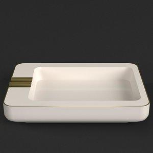 3D model rectangular ceramic ashtray