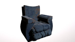 abandoned leather chair 3D