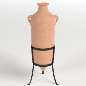 3D roman amphora stand 3 model