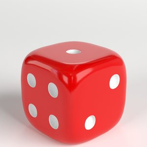3D rounded dice model