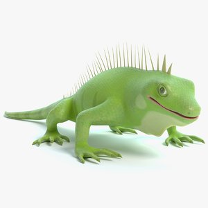 3D cartoon iguana