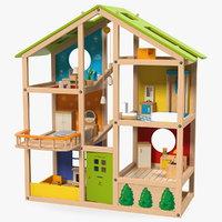 3D model seasons kids wooden dollhouse