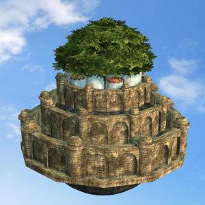 3D model castle sky