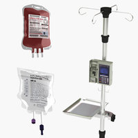 3D iv stand blood bag