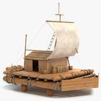 wood raft 3D model