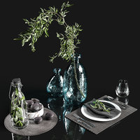 Table settings with olive branch
