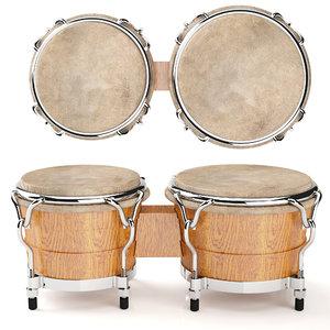 3D bongos drum