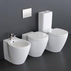 3D close connect toilet bidet model