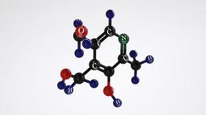 3D vitamin b6-molecular model