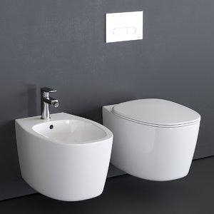 3D dea wall-hung toilet bidet model