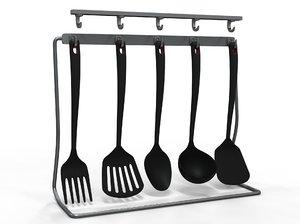 3D kitchen set cooking tools model