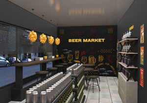 beer shop interior 3D