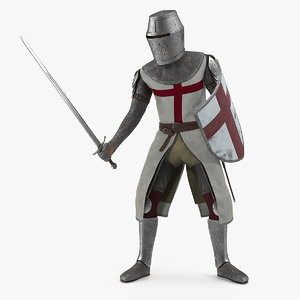 crusader knight templar attack 3D