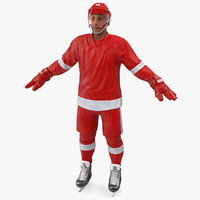 3D hockey player red