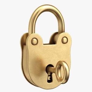 padlock lock old 3D model