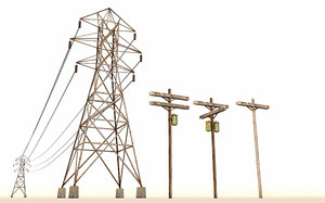 realistic electric power line 3D model