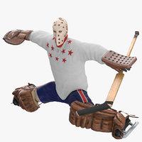 3D ice hockey goalie stretching