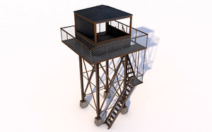 3D model lookout tower military