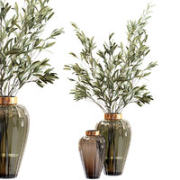 olive stems glass vase model