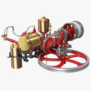 two-stroke piston engine 3D model
