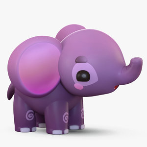 cute cartoon elephant 3D model