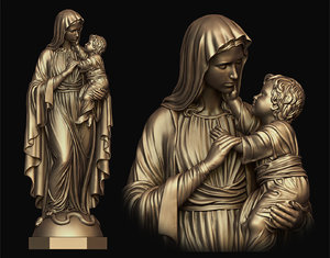 3D model mary child statue
