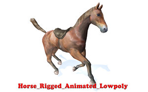 realistic horse rigged 3D