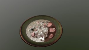 3D old plate spoiled soup model