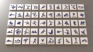3D sport pictogram pack - model
