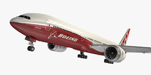 boeing 777-8 aircraft red 3D model