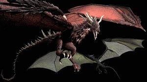 dragon green red 3D model