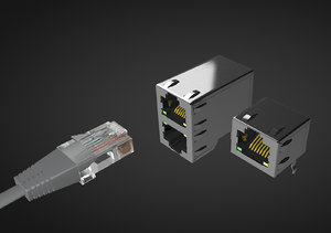3D ethernet connector rj45 f model