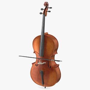 cello instrument bow 3D model