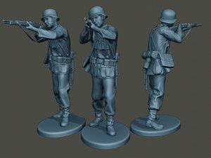 3D german soldier ww2 shoot model