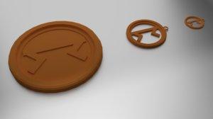3D coaster pendant