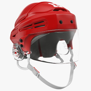 hockey helmet red 3D model