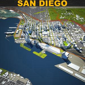 3D san diego skyline model