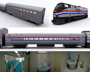 3D amtrak locomotive passenger