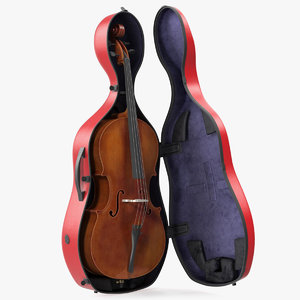3D cello red shell case model