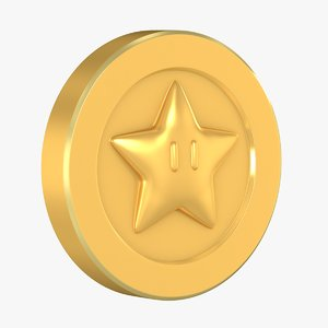 3D model special gold coin star