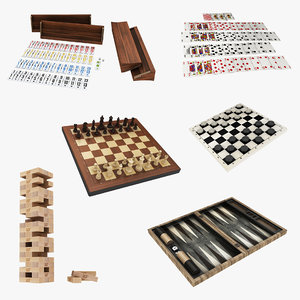3D model board backgammon 2 chess
