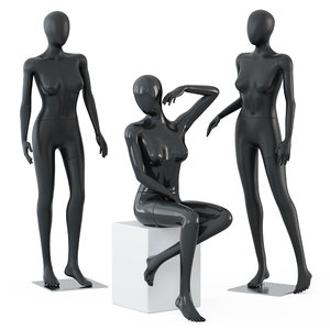 3D female mannequins stand sits