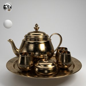 vintage tea set 3D