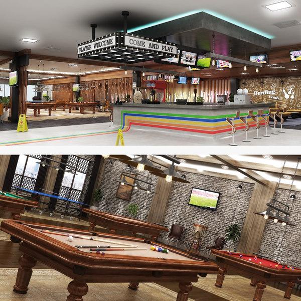 center interior billiard table model