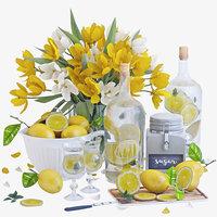 3D model decorative set lemons