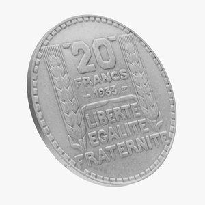 3D 20 francs coin