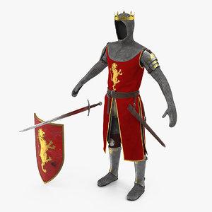crusader knight king armor 3D model