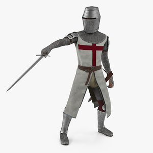 crusader knight templar sword model
